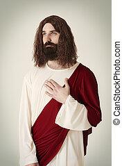 tranquilo, jesús, escena, cristo