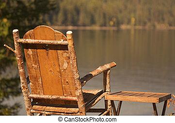 tranquilo, mañana, lago, escena