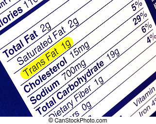 Trans Fat - Nutrition label highlighting the unhealthy trans...