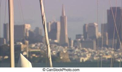 Trans Pyramid Alcatraz Thru Sail Lines .mov - CU of sailboat...