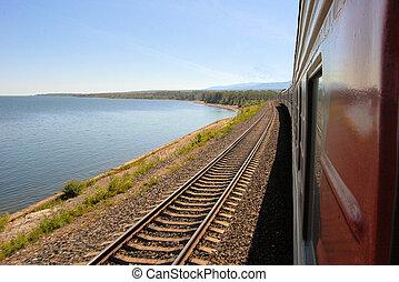 Trans Siberian Railway train, Baikal lake, Russia - A train...