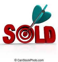 transacción, palabra, trato, vendido, -, hecho, diana, flecha