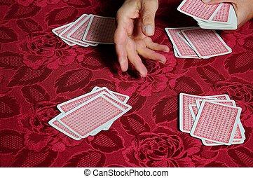 transactie, kaarten., spelend, troep