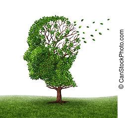 transactie, met, demente mens