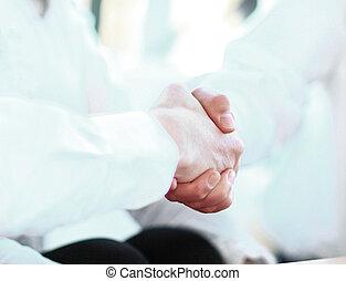 transactie, vergadering, vastleggen, handdruk