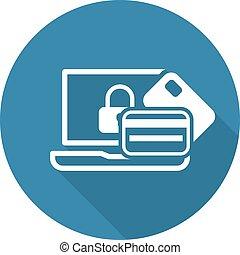 transaction assurée, icon., plat, design.