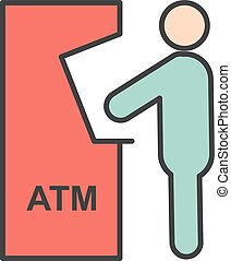 Transaction - Atm, receipt, card icon vector image. Can also...
