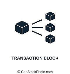 Transaction Block icon. Monochrome style design from blockchain icon collection. UI and UX. Pixel perfect transaction block icon. For web design, apps, software, print usage.
