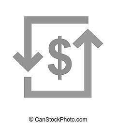 Transaction, dollar, bill, exchange icon vector image. Can...