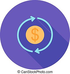 Transaction, dollar, bill, icon vector image. Can also be...