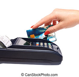 transaction - women hand with credit card in payment...