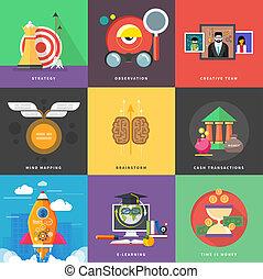 transactions, icônes, haut, espèces, stratégie, début, ...