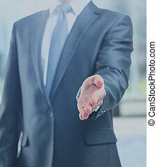 transakcja, handlowy, ręka, znak, gotowy, otwarty, człowiek