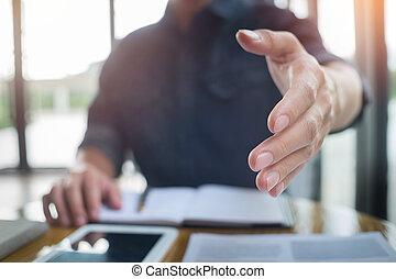 transakcja, handlowy, startup, ręka, znak, gotowy, otwarty, człowiek