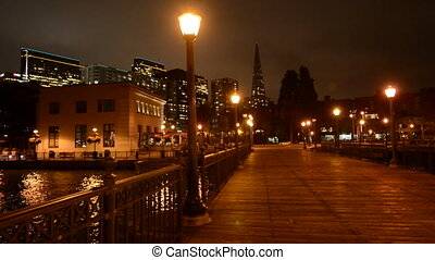 Transamerica Pyramid at night in San Francisco, CA. At 853...