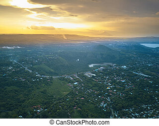Transamerica road in Managua aerial view from drone. Sunset...