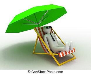 transat, image, isolé, arrière-plan., blanc, parasol, 3d