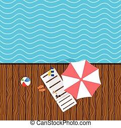 transat, remplir, plage, illustration