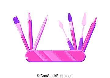 transatlántico, cepillo, lápiz, pluma, herramientas, artista, marcador, -