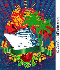 transatlántico, océano, salpicadura, verde, crucero, bandera