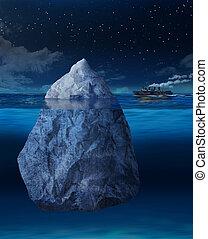 transatlántico, se acercar, iceberg