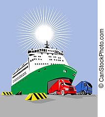 transbordador, afuera, barco, camiones, venida