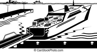 transbordador, atracó, puerto, barco