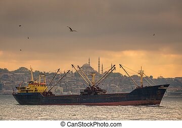 transbordador, bósforo, mar, navegación, estambul