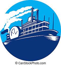 transbordador, barco, steamboat, retro, pasajero