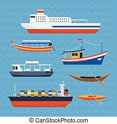 transbordador, clase, barco, vario, barco