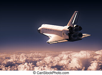 transbordador espacial, encima, rojo, nubes