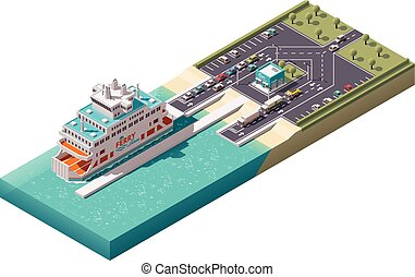 transbordador, isométrico, vector, puerto