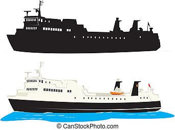 transbordador, viaje, -, barco