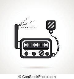 transceptor, negro, vector, radio, icono
