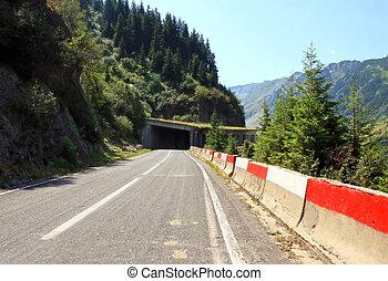 Transfagarasan road between mountai