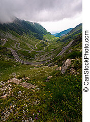 Transfagarasan road on a stormy summer day - Transfagarasan...