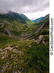 Transfagarasan road on a stormy summer day - Transfagarasan...