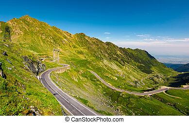 Transfagarasan road serpentine in the valley. beautiful...