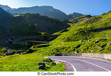Transfagarasan road up hill to the mountain top
