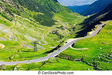 transfagarasan route view from above. gorgeous tourist...