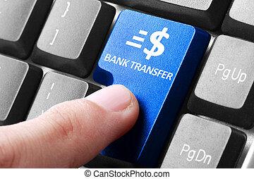 transferência, botão, mão, teclado, imprensa, banco