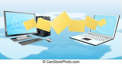 transferência, computador laptop, arquivo