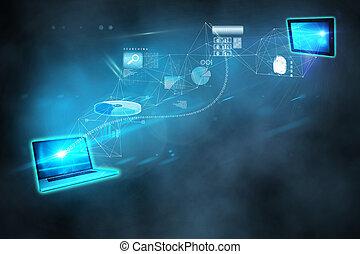 transferência, computando, arquivo, fundo