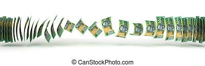 transferência, dólar australiano