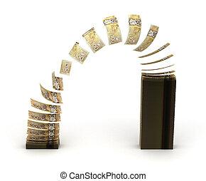 transferência, dólar, canadense