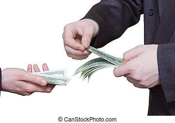 transferência, mãos, dinheiros
