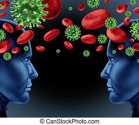 transferência, sangue, infecção