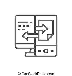 transferência, sincronização, arquivo, dispositivo, linha, dados, icon.
