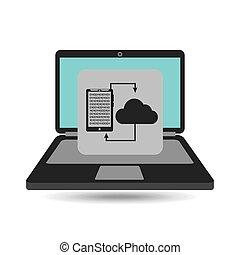 transferência, smartphone, análise computador, nuvem
