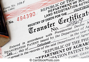 Transfer Certificate of Title - concept for register of deeds, sale or property.